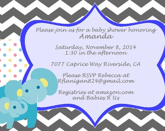 Blue Elephant Boys Chevron Printable Baby Shower Invitation Digital DIY Image