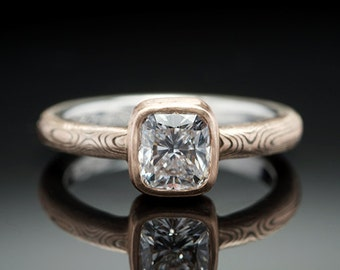 Mokume Gane 14K Rose Gold and Sterling Silver Solitaire Ring with Bezel Set Cushion Cut Stone
