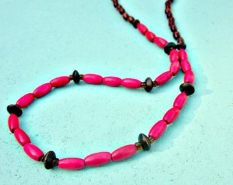 Long Wood Beaded Necklace with Glass Accents: Zeda