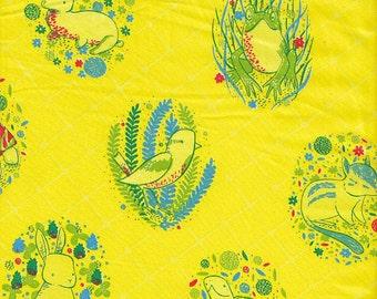 Clothworks Organic Picnic Pals Animal Motifs - Half Yard