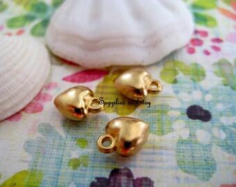 14k Gold Plated whimsical Puffy Heart Charm-Gold Matt Open heart Links Connectors Pendants-heart beads-gold Charms