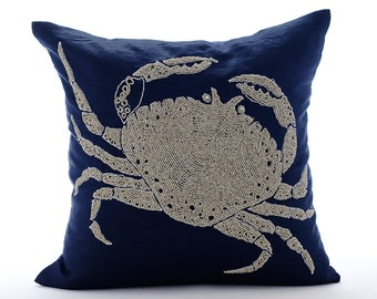 "Navy Blue Cushion Covers,  Square  Beaded Crab Sea Creatures Ocean And Beach Theme 16""x16"" Cotton Linen Pillows Cover - Crab At The Shore"