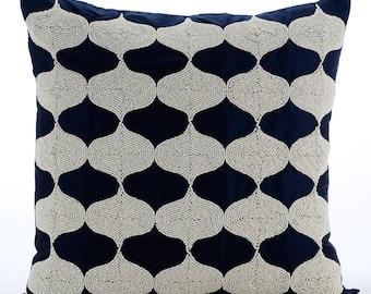 "Handmade Navy Blue Pillow Covers, 16""x16"" Silk Pillows Cover, Square  Beaded Lattice Trellis Pillowcases - Aladdin"