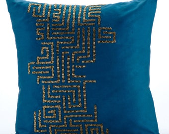Teal Decorative Throw Custom Pillows 20 x 20 Pillow Cover Taffeta Embroidered Pillow Cover - Go On Foreva