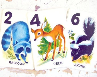 Vintage Arrco Animal Rummy Playing Cards, Woodland Animals- Set of 10 Cards