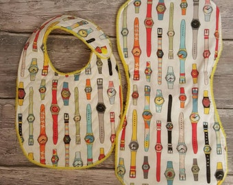 80's SWATCH Watch bib and burp cloth set