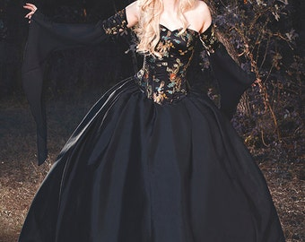 Gothic Ball Medieval Masquerade Gown Dragon Brocade Corset Black with Chiffon Xsmall