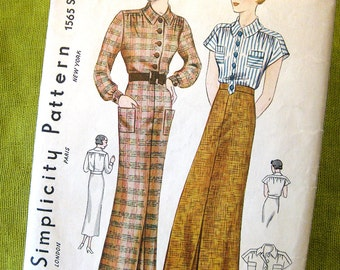 1930s Vintage Sewing Pattern Slim Skirt and Blouse or Bodysuit / Size 12