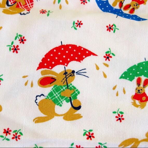Vintage novelty print fabric childrens 39 print juvenile for Vintage childrens fabric prints
