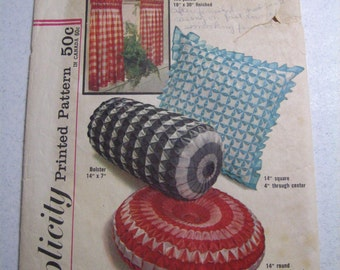 Free Shipping Vintage Simplicity Pattern 4679 Smocked Gingham Fashion Pillows