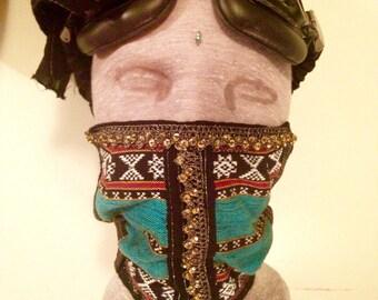 Turquoise Dust Mask  Playa Gear Gold trim option