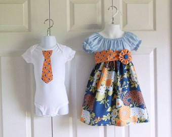 Matching Outfits Brother Sister Siblings - Girls Peasant Dress with sash and flower Boys Tie Bodysuit Tshirt - Botanique Collection