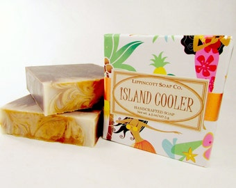 Island Cooler Soap - Cold Process Soap - Handmade Soap - Bar Soap - Coconut, Pineapple, Mango, White Musk, Vanilla Scent - Phthalate Free