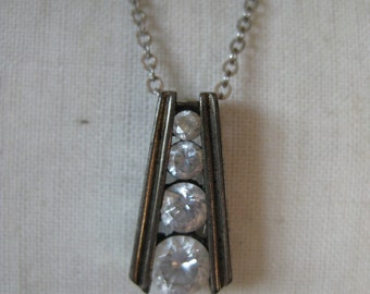 Clear Stone CZ Sterling Necklace Vintage Silver Pendant 925