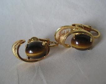 Tiger Eye Gold Earrings Clip Filigree Vintage Brown Stone