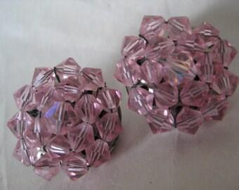Pink Cluster Earrings Clip Glass Vintage