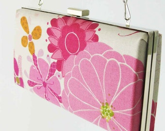 Box Clutch Clamshell Minaudiere Purse Frame - Pink Floral - READY TO SHIP