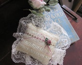 Lacy Ring Bearers Pillow with Rose and wide Lace
