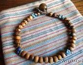 Unisex Bracelet Olive Wood Bead & Lapis Lazuli