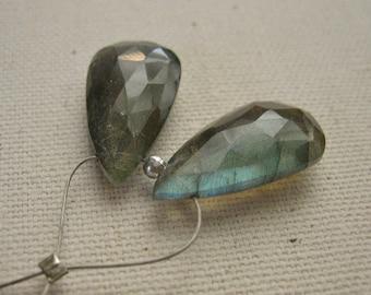 Labradorite Faceted Teardrop Beads 10.5 x 20.5mm - Matched Gemstone Pair
