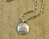 """1/2"""" Sterling Silver Hammered Handstamped Disk Round Charm with a Camping Trailer"""