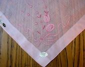 Burmel Original Handkerchief, Unused Vintage Hanky, Pink Hanky, Tulips, Embroidered Hanky, Pink Tulip Hanky, Vintage Hanky, Madeira Linen