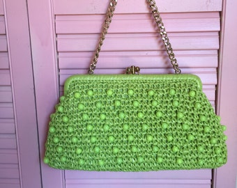Crazy Cool 60s Beaded Green Handbag