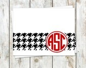 Houndstooth Monogram Stationery - Houndstooth Note Cards - Alabama Roll Tide Folded Notes - National Champions
