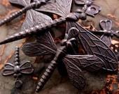 6 Dragonfly Mix Lot Medium Small Tiny Oxidized Brass Vintage Victorian Art Deco Sty Stone Wrap Dark Brown Black Patina Jewelry Finding 6C