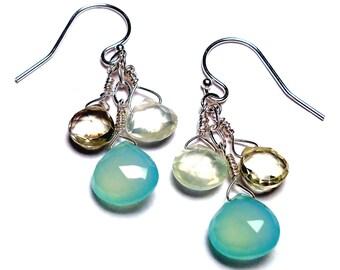 """AWAKEN Aqua Chalcedony Lemon Quartz Prehnite 1-3/8"""" Sterling Silver Briolette Earrings E421c"""