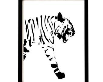 Bengal Tiger -   Kids Art Prints, nursery print, Tiger art , nursery decorating ideas, wall decor, Tiger silhouette, nursery tiger