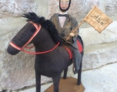 Primitive Abe Lincoln Doll and Horse