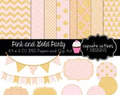 Pink & Gold Party-  Digital Clipart  and Paper Set- Commercial use Instant Download