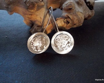 organic silver earrings Eco friendly handmade artisan jewelry sustainable raw rustic