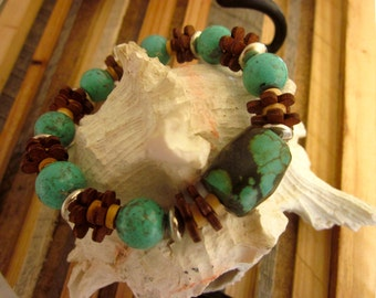 Tibetan Turquoise & wood Stretch Bracelet.  Earthy, chunky, gemstones, Hippie, Gypsy, Eco fashion, stone, fall, organic, gift, teacher, cool