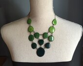 Shades of green bib necklace