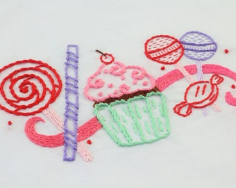 Candy Embroidery Design Candy and Sweets Hand Embroidery Pattern Cupcake Design
