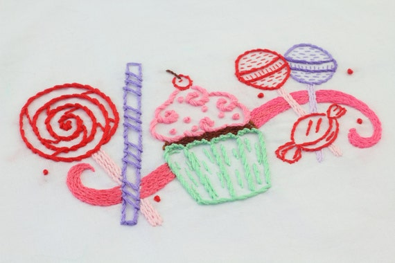Candy Embroidery Design Candy and Sweets Hand Embroidery Pattern
