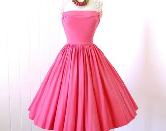 vintage 1950's dress...  fabulous ELAINE TERRY california coral pink polished cotton draped bust full circle skirt halter dress