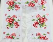 Vintage Kitchen Window Curtains Wilendur Cineraria Red Flower S1