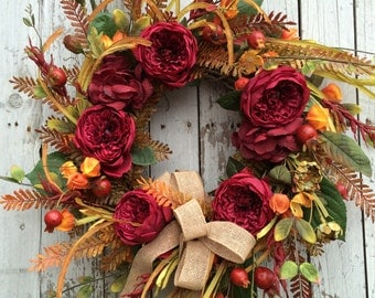 Fall Wreath for Door, Burgundy Fall Leaf Wreath, Country Fall Door Wreath, Fall Flower Wreath, Berry Wreath