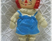 Vintage Rubber Plastic Bobbs Merrill Co. Inc 1965 Raggedy Ann Rubber Doll Made by Arrow Toys