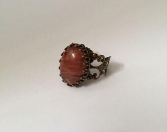Cherry quartz ring - Adjustable