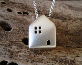 House Necklace Sterling Silver House Pendant Home Necklace Gift for Her minimal Necklace Birthday Gift fall pendant christmas jewelry
