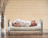 Small Traditional Newborn Photo Prop Baby Doll Posing Bed - DIY Photography Portrait