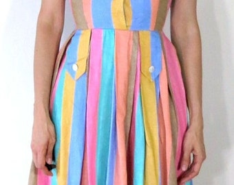 Vintage 1950s 1960s Pastel Striped Dress XS