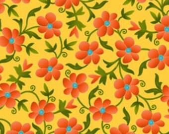 Sale Fabric Sweet Nectar Floral in Marigold 1/2 Yard
