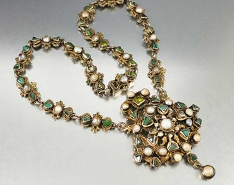 Emerald Necklace, Antique Austro Hungarian Necklace, Emerald Pearl Necklace Pendant, Enamel Victorian Necklace Antique Jewelry Silver Choker