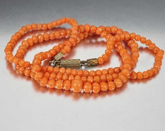 Antique Coral Bead Victorian Necklace, Mediterranean Coral Bead Necklace, Graduated Hand Carved Coral Beads, 1800s Antique Jewelry