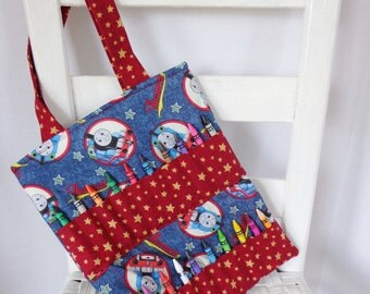 Thomas the Tank Crayon Bag Boy Birthday Kids Travel Tote Car Trip Idea Coloring Bag